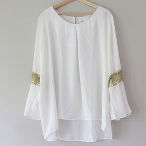 Gold Trim Long Bell Sleeve White Blouse - Plus 3X